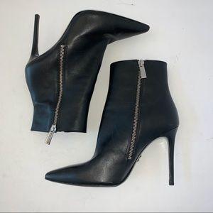 Michael Kors Black KEKE Zipper Leather Booties